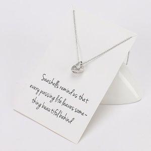 Boho Silver Conch Seashell Pendant Necklace & Card